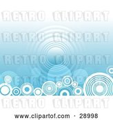 Vector Clip Art of Retro Repeat Circle in the Center of a Gradient Blue Background with White Circles Along the Bottom by KJ Pargeter