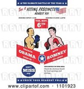 Vector Clip Art of Retro Republican American Presidential Candidate Mitt Romney and President Barack Obama Boxing by Patrimonio