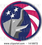 Vector Clip Art of Retro Republican Elephant Spraying American Stars and Stripes in a Circle by Patrimonio