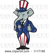 Vector Clip Art of Retro Republican GOP Party Elephant Uncle Sam Holding a Thumb up by Patrimonio