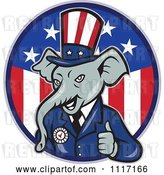 Vector Clip Art of Retro Republican GOP Party Elephant Uncle Sam Holding a Thumb up over an American Circle by Patrimonio