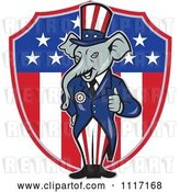 Vector Clip Art of Retro Republican GOP Party Elephant Uncle Sam Holding a Thumb up over an American Shield by Patrimonio