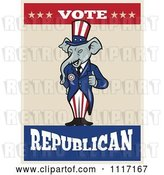 Vector Clip Art of Retro Republican GOP Party Elephant Uncle Sam Holding a Thumb up with Vote Text by Patrimonio