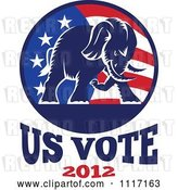 Vector Clip Art of Retro Republican Political Party Elephant and Flag with Us Vote 2012 Text 1 by Patrimonio