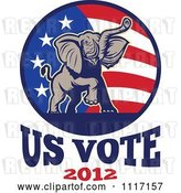 Vector Clip Art of Retro Republican Political Party Elephant and Flag with Us Vote 2012 Text 2 by Patrimonio