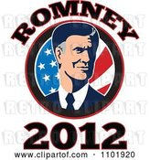 Vector Clip Art of Retro Republicn American Presidential Candidate Mitt Romney over Stars and Stripes with 2012 Text by Patrimonio