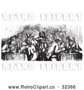 Vector Clip Art of Retro Restaurant on the Rhine Boat in Black and White by Picsburg