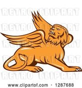 Vector Clip Art of Retro Resting Griffin Winged Lion by Patrimonio