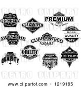 Vector Clip Art of Retro Retail Quality Labels with Sample Text by Vector Tradition SM