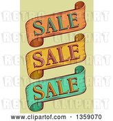 Vector Clip Art of Retro Retail Sale Ribbon Banners over Green by BNP Design Studio