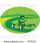 Vector Clip Art of Retro Reto Guy Racing a Go Kart in a Green Oval by Patrimonio