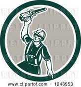 Vector Clip Art of Retro Retor Male Arborist Wielding a Chainsaw in a Circle by Patrimonio