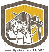 Vector Clip Art of Retro Retor Male Dock Worker with Shipping Containers in a Shield by Patrimonio