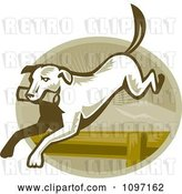 Vector Clip Art of Retro Retriever Dog Leaping over an Agility Hurdle by Patrimonio