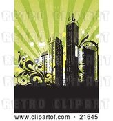 Vector Clip Art of Retro Retro-Revival Background with City Skyscrapers with Vines, over Black and Green by OnFocusMedia
