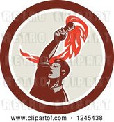 Vector Clip Art of Retro Revolution Male Worker Holding up a Torch in a Circle by Patrimonio