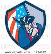 Vector Clip Art of Retro Revolutionary Soldier Minute Guy with an American Flag in a Shield by Patrimonio