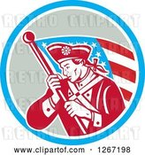Vector Clip Art of Retro Revolutionary Soldier with an American Flag in a Blue White and Gray Circle by Patrimonio