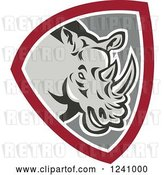 Vector Clip Art of Retro Rhino in a Gray and Maroon Shield by Patrimonio