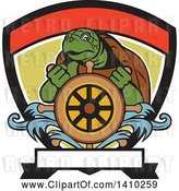 Vector Clip Art of Retro Ridley Turtle Steering at a Helm in a Shield by Patrimonio