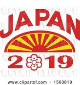 Vector Clip Art of Retro Rising Sun with Japan 2019 Text by Patrimonio