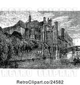 Vector Clip Art of Retro Riverfront View of Queens College, Cambridge Uk by Prawny Vintage