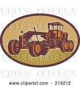 Vector Clip Art of Retro Road Grader Machine Logo by Patrimonio