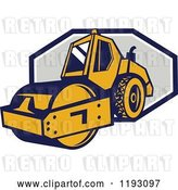 Vector Clip Art of Retro Road Roller Tractor Emerging from an Octagon by Patrimonio