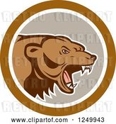 Vector Clip Art of Retro Roaring Angry Grizzly Bear in a Gray and Brown Circle by Patrimonio