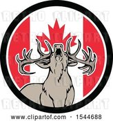 Vector Clip Art of Retro Roaring Deer in a Canadian Flag Circle by Patrimonio