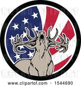Vector Clip Art of Retro Roaring Deer in an American Flag Circle by Patrimonio