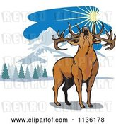 Vector Clip Art of Retro Roaring Deer in the Mountains by Patrimonio