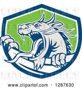 Vector Clip Art of Retro Roaring Dragon Emerging from a Blue White and Green Shield by Patrimonio