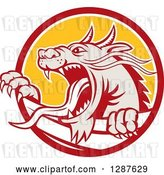 Vector Clip Art of Retro Roaring Dragon Emerging from a Red White and Yellow Circle by Patrimonio
