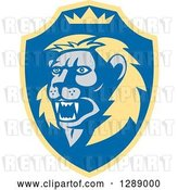 Vector Clip Art of Retro Roaring Lion Head and Crown in a Yellow and Blue Shield by Patrimonio