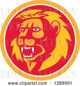 Vector Clip Art of Retro Roaring Lion Head in an Orange White and Red Circle by Patrimonio