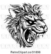 Vector Clip Art of Retro Roaring Lion Mascot Head in by AtStockIllustration
