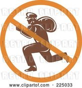 Vector Clip Art of Retro Robber Logo with a Prohibited Symbol by Patrimonio