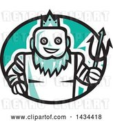 Vector Clip Art of Retro Robotic Poseidon Holding a Trident in a Black White and Turquoise Oval by Patrimonio