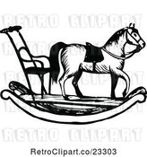 Vector Clip Art of Retro Rocking Horse with Chair by Prawny Vintage