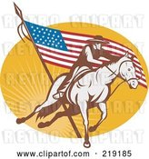 Vector Clip Art of Retro Rodeo Cowboy and American Flag Logo by Patrimonio