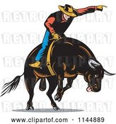 Vector Clip Art of Retro Rodeo Cowboy on a Bucking Bull 3 by Patrimonio