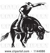 Vector Clip Art of Retro Rodeo Cowboy on a Bucking Bull by Patrimonio