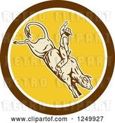 Vector Clip Art of Retro Rodeo Cowboy on a Bucking Bull in a Circle by Patrimonio
