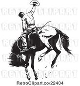 Vector Clip Art of Retro Rodeo Cowboy on a Bucking Horse 1 by BestVector