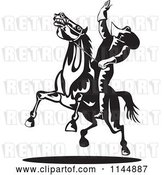 Vector Clip Art of Retro Rodeo Cowboy on a Bucking Horse 1 by Patrimonio