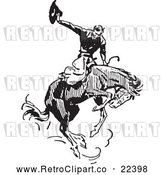 Vector Clip Art of Retro Rodeo Cowboy on a Bucking Horse 2 by BestVector