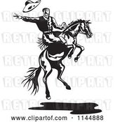 Vector Clip Art of Retro Rodeo Cowboy on a Bucking Horse 2 by Patrimonio