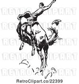 Vector Clip Art of Retro Rodeo Cowboy on a Bucking Horse 3 by BestVector
