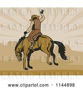 Vector Clip Art of Retro Rodeo Cowboy on a Bucking Horse 3 by Patrimonio
